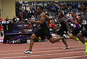Mar 5, 2017; Albuquerque, NM, USA; Ronnie Baker wins the 60m in 6.45 during the USA Indoor Championships at the Albuquerque Convention Center.