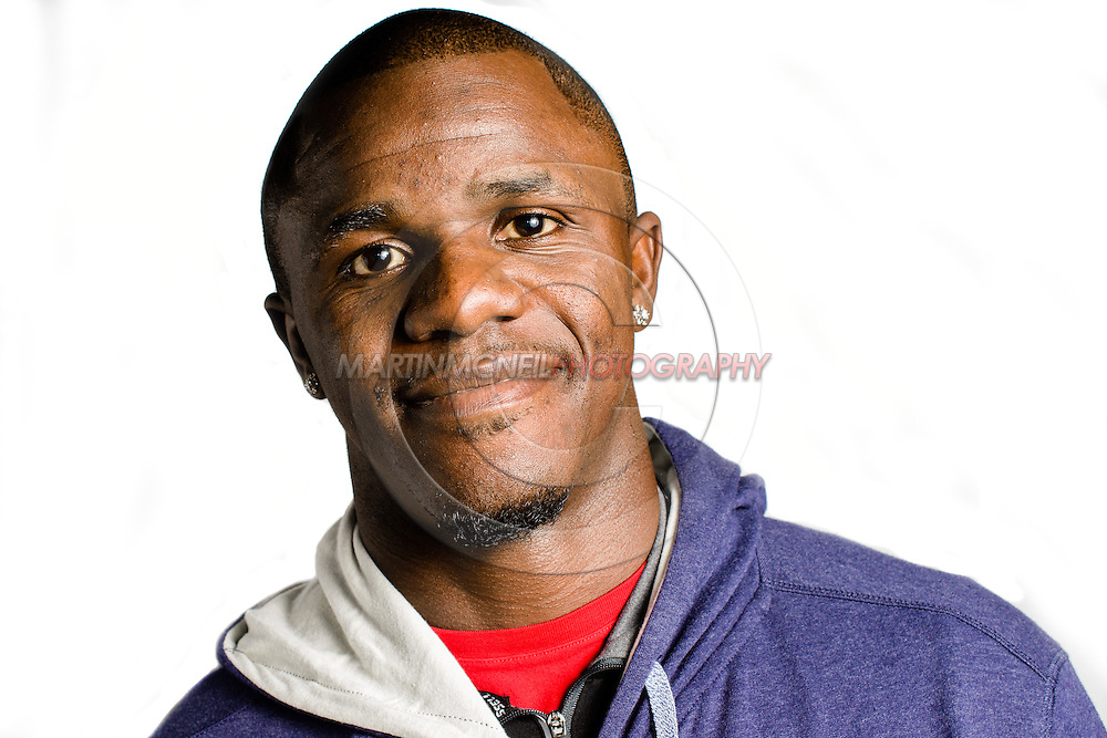"MANCHESTER, ENGLAND, NOVEMBER 23, 2013: Mixed martial arts athlete Melvin Guillard poses for a portrait following the media open work-out sessions for ""UFC Fight Night 30: Machida vs. Munoz"" inside Bierkeller Shooter's Sports Bar in The Printworks, Manchester (Martin McNeil for ESPN)"