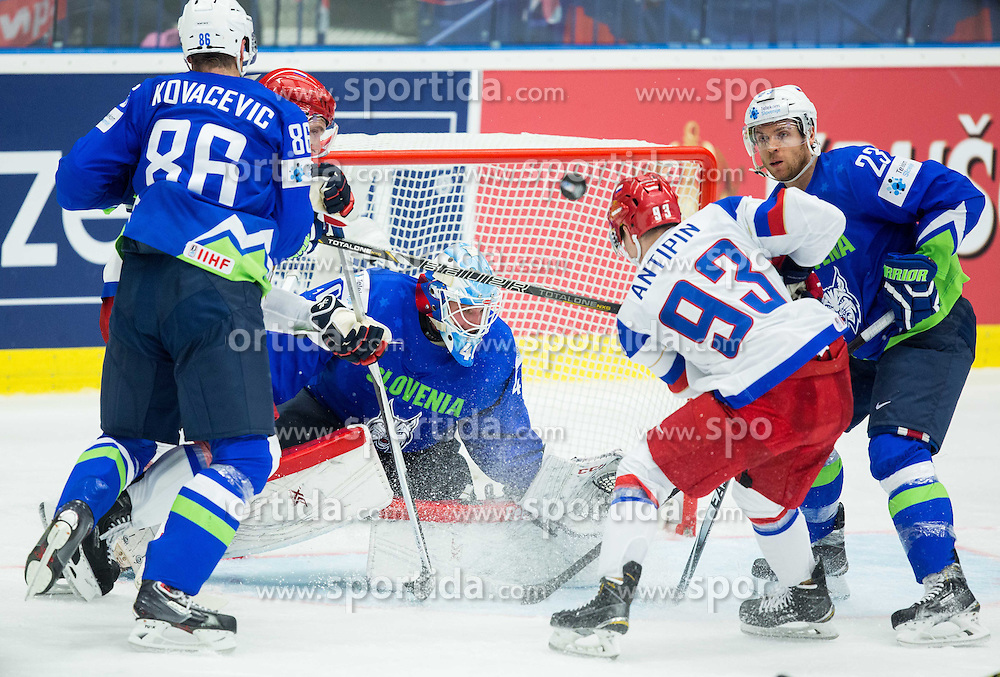 Viktor Antipin of Russia vs Luka Gracnar of Slovenia and Luka Vidmar of Slovenia during Ice Hockey match between Russia and Slovenia at Day 3 in Group B of 2015 IIHF World Championship, on May 3, 2015 in CEZ Arena, Ostrava, Czech Republic. Photo by Vid Ponikvar / Sportida
