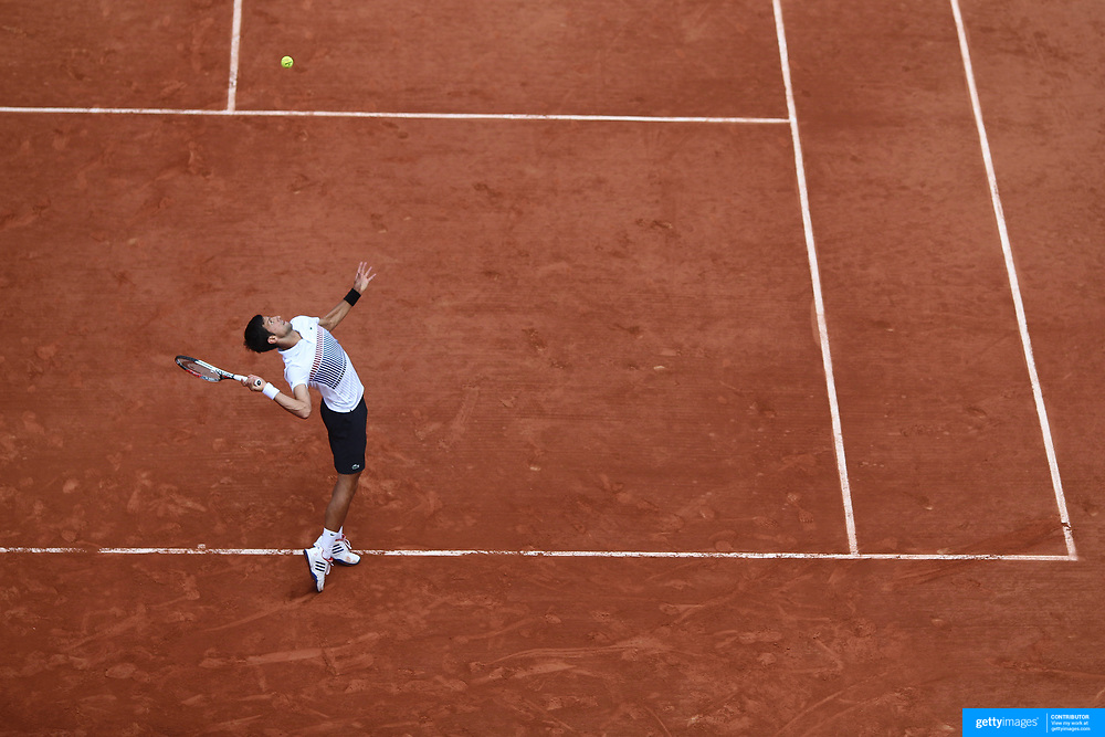 2017 French Open Tennis Tournament - Day Four.  Novak Djokovic of Serbia in action against Joao Sousa of Portugal on Court Suzanne Lenglen in the Men's Singles second round match match at the 2017 French Open Tennis Tournament at Roland Garros on May 31st, 2017 in Paris, France.  (Photo by Tim Clayton/Corbis via Getty Images)