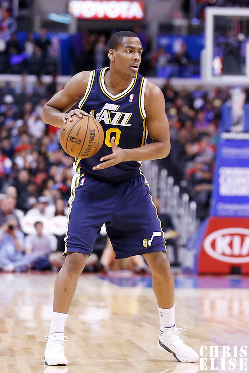 23 October 2013: Utah Jazz point guard Alec Burks (10) looks to pass the ball during the Los Angeles Clippers 103-99 victory over the Utah Jazz at the Staples Center, Los Angeles, California, USA.