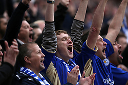 Leicester fans celebrate at the finals whistle - Photo mandatory by-line: Matt Bunn/JMP - Tel: Mobile: 07966 386802 -19/04/2014 - SPORT - FOOTBALL - King Power Stadium- Leicester - Leicester City v Queens Park Rangers- Sky Bet Championship