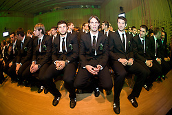 Aleksander Seliga, Bojan Jokic, Marko Suler, Bostjan Cesar and Branko Ilic at official presentation of Slovenian National Football team for World Cup 2010 South Africa, on May 21, 2010 in Congress Center Brdo at Kranj, Slovenia. (Photo by Vid Ponikvar / Sportida)