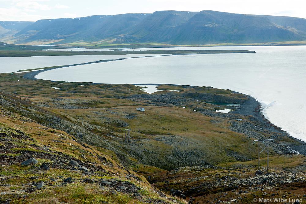 Hraun á Siglufjarðarleið, séð til suðuirs yfir Hraunakrókur, Sveitarfélagið Skagafjörður áður Holtshreppur séð til suðurs. /  Viewing south over Hraun and Hraunakrokur,  deserted farm on the road to Siglufjordur, Viewing south. Sveitafelagid Skagafjordur former Holtshreppur