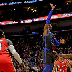 Dec 5, 2018; New Orleans, LA, USA; Dallas Mavericks guard Wesley Matthews (23) shoots over New Orleans Pelicans forward Anthony Davis (23) during the first quarter at the Smoothie King Center. Mandatory Credit: Derick E. Hingle-USA TODAY Sports