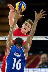 10.09.2014, Centennial Hall, Breslau, POL, FIVB WM, Kuba vs Kanada, 2. Runde, Gruppe F, im Bild John Gordon Perrin canada #2 Isbel Mesa Sandoval cuba #16 // John Gordon Perrin canada #2 Isbel Mesa Sandoval cuba #16 during the FIVB Volleyball Men's World Championships 2nd Round Pool F Match beween Cuba and Canada at the Centennial Hall in Breslau, Poland on 2014/09/10. EXPA Pictures © 2014, PhotoCredit: EXPA/ Newspix/ Sebastian Borowski<br /> <br /> *****ATTENTION - for AUT, SLO, CRO, SRB, BIH, MAZ, TUR, SUI, SWE only*****
