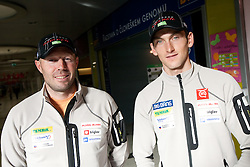 Uros Velepec and Jakov Fak at press conference of Slovenia Biathlon team before new season 2010 - 2011, on November 24, 2010, in Emporium, BTC, Ljubljana, Slovenia.  (Photo by Vid Ponikvar / Sportida)