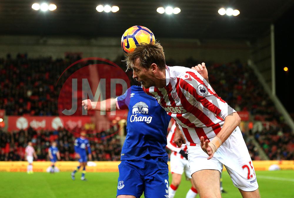 Peter Crouch of Stoke City wins a header - Mandatory by-line: Matt McNulty/JMP - 01/02/2017 - FOOTBALL - Bet365 Stadium - Stoke-on-Trent, England - Stoke City v Everton - Premier League
