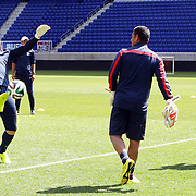 Goalkeeper Brad Guzan, (left), and Tim Howard training with the US Mens National Team at Red Bull Arena in preparation for Sunday's game against Turkey as they prepare for the 2014 FIFA World Cup. Red Bull Arena, Harrison, New Jersey, USA. 30th May 2014. Photo Tim Clayton