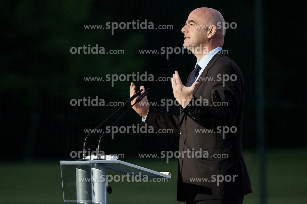 Gianni Infantino, president of FIFA during Official opening of the Slovenian National football centre Brdo (Nacionalni nogometni center Brdo), on May 6, 2016, in Brdo pri Kranju, Slovenia. Photo by Vid Ponikvar / Sportida