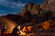 Sinai, Egypt, December 2018.  Overnight camp at Moiyet El Melha while hiking with the Tarabin Tribe through the Sinai Desert Coastal Ranges. The Sinai Trail is Egypt's 1st long distance hiking trail, running 230km from the Gulf of Aqaba to the top of the Sinai's highest mountain. It connects old trade, travel and pilgrimage routes through one of the Middle East's most iconic desert wildernesses and is managed by a cooperative of three Bedouin tribes. Photo by Frits Meyst / MeystPhoto.com