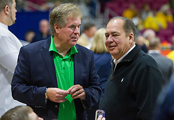 Dec 17, 2015; Charleston, WV, USA; Marshall Thundering Herd athletic director Mike Hamrick talks with West Virginia Governor Earl Ray Tomblin before the start of the game at the Charleston Civic Center . Mandatory Credit: Ben Queen-USA TODAY Sports