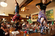 Caledonian Pipe Band, dancers on the bar, Glenns Food and Spirits, Livingston, Montana, 4th of July, celebration