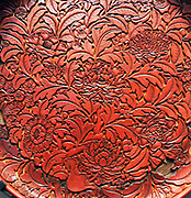 Carved Chinese lacquer dish. Early Ming Dynasty 1403-1425. Ashmolean Museum, Oxford