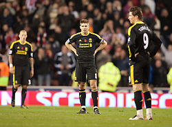 13.11.2010, Britannia Stadium, Stoke, ENG, PL, Stoke City vs Liverpool FC, im Bild Liverpool's captain Steven Gerrard MBE looks dejected as Stoke City score the second goal during the Premiership match at the Britannia Stadium, EXPA Pictures © 2010, PhotoCredit: EXPA/ Propaganda/ D. Rawcliffe *** ATTENTION *** UK OUT!