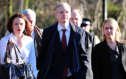 WikiLeaks founder Julian Assange outside Belmarsh Magistrates' Court, London.  WikiLeaks founder Julian Assange repeatedly offered to be interviewed in Sweden last year over allegations of rape and molestation, his Swedish lawyer told a British court on Tuesday. The hearing, initially scheduled to last two days, will now reconvene on Friday when lawyers will make closing statements, although the judge in the case is not expected to give his decision until later this month, Friday February 11, 2011. Photo By Andrew Parsons / i-Images