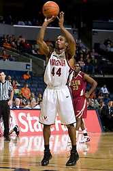 Virginia guard Sean Singletary (44) shoots a free throw.  The Virginia Cavaliers men's basketball team defeated the Elon Phoenix 91-61  at the John Paul Jones Arena in Charlottesville, VA on December 22, 2007.