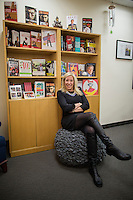 NEW YORK, NY &ndash; NOVEMBER 1, 2013:  Lisa Sharkey, the director of creative development for HarperCollins Publishers Worldwide has the $299 textured gray terrycloth cover for her office exercise ball chair and says that it&rsquo;s attractive looking enough to be a stand-alone piece of furniture. <br /> <br /> Photo by Robert Caplin