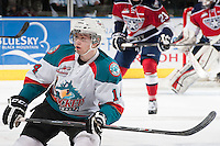 KELOWNA, CANADA - MARCH 23: Rourke Chartier #14 of the Kelowna Rockets skates against the Tri-City Americans on March 23, 2014 during game 2 of the first round of WHL Playoffs at Prospera Place in Kelowna, British Columbia, Canada.   (Photo by Marissa Baecker/Getty Images)  *** Local Caption *** Rourke Chartier;