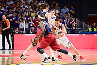 Real Madrid's Jaycee Carroll and FC Barcelona Lassa's Tyrese Rice and Ante Tomic duringTurkish Airlines Euroleague match between Real Madrid and FC Barcelona Lassa at Wizink Center in Madrid, Spain. March 22, 2017. (ALTERPHOTOS/BorjaB.Hojas)