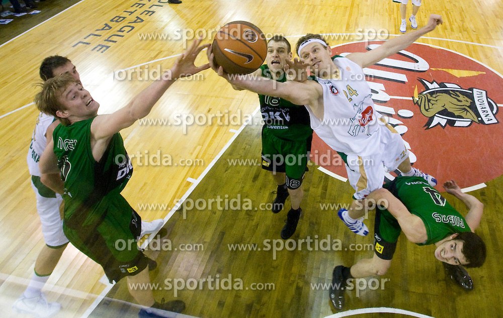 Henk Norel, Ferran Lavina, Miha Zupan and Pau Ribas at basketball match of 6th Round of Group C in Euroleague between KK Union Olimpija and DKV Joventut, on December 4, 2008 in Arena Tivoli, Ljubljana, Slovenia. Union Olimpija : DKV Joventut 65:86. (Photo by Vid Ponikvar / Sportida)