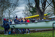 London. United Kingdom,  Bournemouth University BC. getting their instructions before boating for the 2018 Women's Head of the River Race.  location Barnes Bridge, Championship Course, Putney to Mortlake. River Thames, <br />