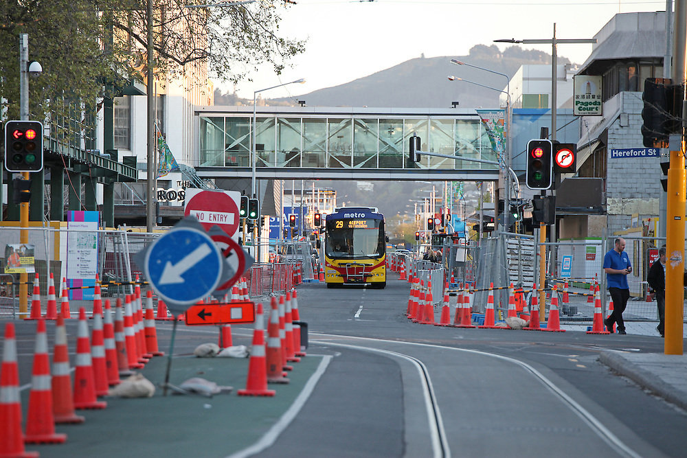 Looking South down Colombo Street at road cones,  Christchurch, New Zealand, Friday, 09 October, 2015. Credit: SNPA / Pam Carmichael