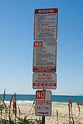 Warning restriction signs Newport Beach California