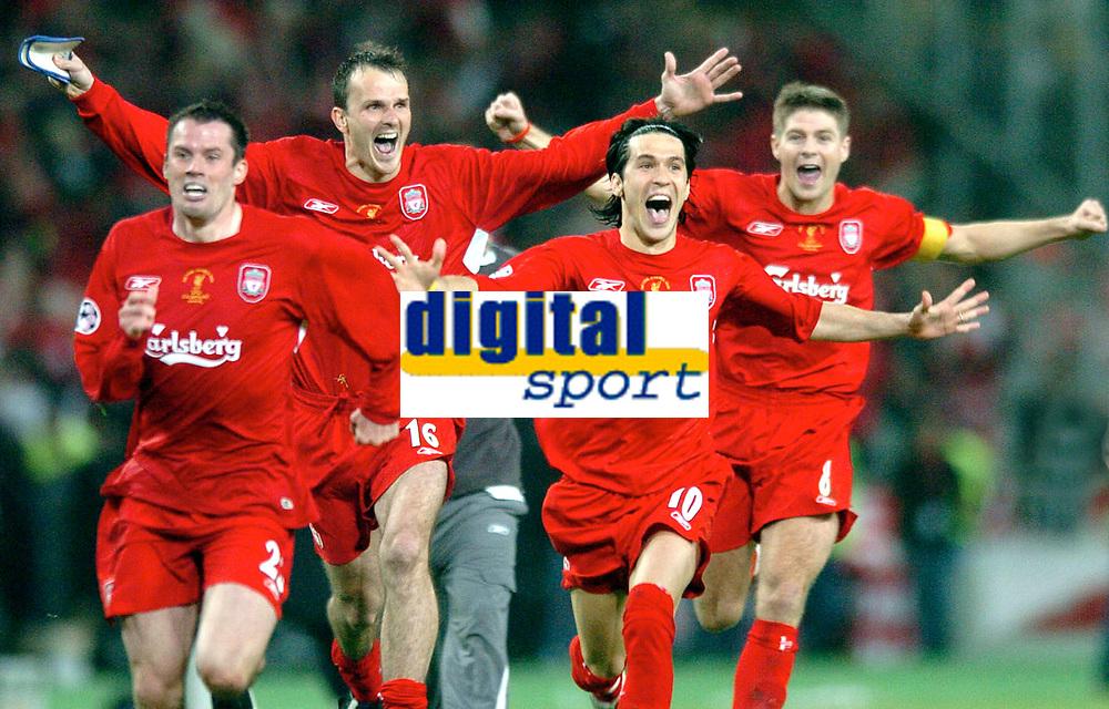 ◊Copyright:<br />GEPA pictures<br />◊Photographer:<br />Helmut Fohringer<br />◊Name:<br />Garcia<br />◊Rubric:<br />Sport<br />◊Type:<br />Fussball<br />◊Event:<br />UEFA Champions League Finale, AC Milan vs Liverpool FC<br />◊Site:<br />Istanbul, Tuerkei<br />◊Date:<br />25/05/05<br />◊Description:<br />Liverpool gewinnt die UEFA Champions League, Luis Garcia, Dietmar Hamann, Luis Garcia, Steven Gerrard (Liverpool), Jubel<br />◊Archive:<br />DCSFH-250505517<br />◊RegDate:<br />25.05.2005<br />◊Note:<br />SU/DM - Nutzungshinweis: Es gelten unsere Allgemeinen Geschaeftsbedingungen (AGB) bzw. Sondervereinbarungen in schriftlicher Form. Die AGB finden Sie auf www.GEPA-pictures.com. Use of pictures only according to written agreements or to our business terms as shown on our website www.GEPA-pictures.com