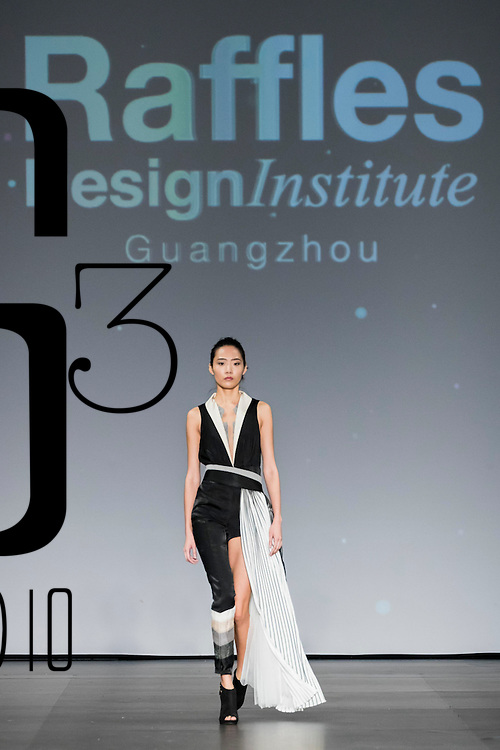 A model showcases designs of Olivia Ru of China on the runway during the ELUCIDATION show by Raffles Design Institute Hong Kong on the Day 4 of the CentreStage Hong Kong 2016 at Hong Kong Convention and Exhibition Centre on 10 September 2016 in Hong Kong, China. Photo by Victor Fraile / studioEAST
