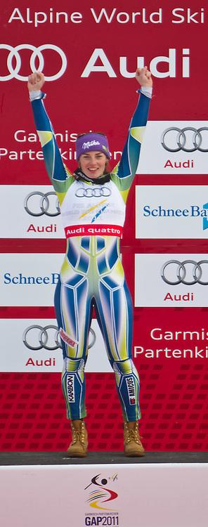 17.02.2011, Kandahar, Garmisch Partenkirchen, GER, FIS Alpin Ski WM 2011, GAP, Riesenslalom, im Bild Gold Medaille und Weltmeister TinaTina Maze (SLO) // Gold Medal and World Champion Tina Maze (SLO)  during Giant Slalom Fis Alpine Ski World Championships in Garmisch Partenkirchen, Germany on 17/2/2011. EXPA Pictures © 2011, PhotoCredit: EXPA/ J. Groder