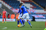 GOAL Nathaniel Mendez-Laing scores 3-2 during the EFL Sky Bet League 1 match between Rochdale and Charlton Athletic at Spotland, Rochdale, England on 18 February 2017. Photo by Daniel Youngs.