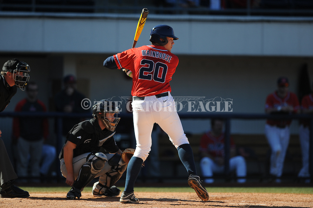 Ole Miss' Joe Wainhouse (20) against Stetson at Oxford-University Stadium in Oxford, Miss. on Saturday, March 7, 2015. Ole Miss won 8-3 in game 1 of a doubleheader to improve to 7-5.