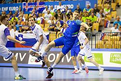 Kristjan Horzen of Slovenia during handball match between National teams of Slovenia and Iceland in Main Round of 2018 EHF U20 Men's European Championship, on July 25, 2018 in Arena Zlatorog, Celje, Slovenia. Photo by Urban Urbanc / Sportida