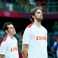 06 August 2012: Spain Pau Gasol and Rudy Fernandez are seen during the National Anthem prior to the 88-82 Team Brazil victory over Team Spain, during the men's basketball preliminary, at the Basketball Arena, in London, Great Britain.