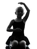 one little girl ballerina ballet dancer dancing in silhouette on white background