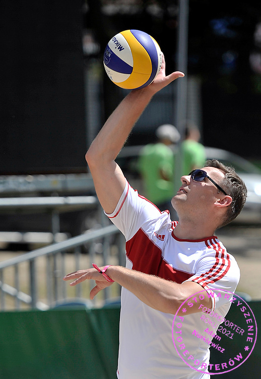 Pawel Papke - polish famous former volleyball player while training session match of Special Olympics Poland during Day 7 of the FIVB World Championships on July 7, 2013 in Stare Jablonki, Poland. <br /> <br /> Poland, Stare Jablonki, July 07, 2013<br /> <br /> Picture also available in RAW (NEF) or TIFF format on special request.<br /> <br /> For editorial use only. Any commercial or promotional use requires permission.<br /> <br /> Mandatory credit:<br /> Photo by &copy; Adam Nurkiewicz / Mediasport