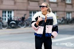 Street style, Celine Aagaard arriving at Nicholas Nybro Spring Summer 2017 show held at Regnbuepladsen, in Copenhagen, Denmark, on August 10, 2016. Photo by Marie-Paola Bertrand-Hillion/ABACAPRESS.COM  | 558625_001 Copenhagn Danemark Denmark