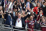 Aston Villa manager Dean Smith  lifts the cup during the EFL Sky Bet Championship play off final match between Aston Villa and Derby County at Wembley Stadium, London, England on 27 May 2019.