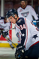 KELOWNA, CANADA - DECEMBER 5: Sasha Mutala #34 of the Tri-City Americans stands on the ice during warm up against the Kelowna Rockets on December 5, 2018 at Prospera Place in Kelowna, British Columbia, Canada.  (Photo by Marissa Baecker/Shoot the Breeze)