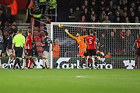 Football - 2018 / 2019 Premier League - Southampton vs. Manchester United<br /> <br /> Southampton's Cedric Soares free kick flies past the outstretched arm of David de Gea of Manchester United to put Saints 2-0 up at St Mary's Stadium Southampton<br /> <br /> COLORSPORT/SHAUN BOGGUST