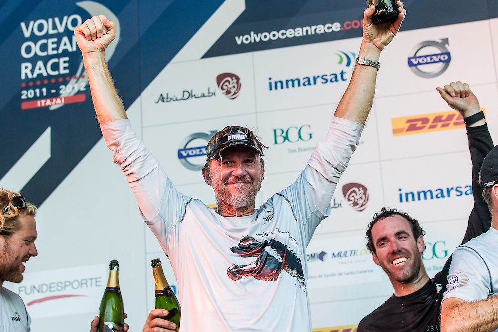 BRAZIL, Itajai. 6th April 2012. Volvo Ocean Race. Ken Read, Skipper of Puma Ocean Racing powered by BERG celebrates the teams Leg 5 victory.