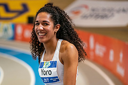 Tara Yoro in action on the long jump section<br /> during the Dutch Indoor Athletics Championship on February 22, 2020 in Omnisport De Voorwaarts, Apeldoorn