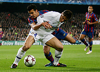 FC Barcelona's Pedro fight for the ball with Inter Milan's Xavier Zanetti during their UEFA Cup Champions League football match at Camp Nou stadium in Barcelona, 24 November 2009. Paco Serinelli Insidefoto
