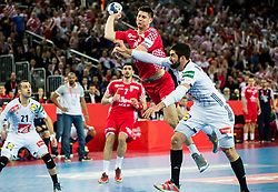 Marko Mamic of Croatia vs Nikola Karabatic of France during handball match between National teams of Croatia and France on Day 7 in Main Round of Men's EHF EURO 2018, on January 24, 2018 in Arena Zagreb, Zagreb, Croatia.  Photo by Vid Ponikvar / Sportida