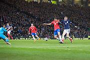 23rd March 2018, Hampden Park, Glasgow, Scotland; International Football Friendly, Scotland versus Costa Rica; Oli McBurnie of Scotland misses a good chance