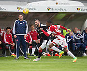 Dundee&rsquo;s Marcus Haber goes past Hamilton&rsquo;s Lennard Sowah - Hamilton v Dundee in the Ladbrokes Scottish Premiership at Superseal stadium, Hamilton. Photo: David Young<br /> <br />  - &copy; David Young - www.davidyoungphoto.co.uk - email: davidyoungphoto@gmail.com