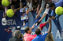 September 10, 2017 - Flushing Meadows, New York, U.S - Rafael Nadal signs autographs after his Championship trophy presentation on Day Fourteen of the Men's 2017 US Open Final played against Kevin Anderson at the USTA Billie Jean King National Tennis Center on Sunday September 10, 2017 in the Flushing neighborhood of the Queens borough of New York City. Nadal defeats Anderson, 6-3, 6-3, 6-4. JAVIER ROJAS/PI (Credit Image: © Prensa Internacional via ZUMA Wire)