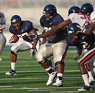 Ole Miss' Enrique Davis (27) runs during a team scrimmage at Vaught-Hemingway Stadium in Oxford, Miss. on Saturday, August 20, 2011.