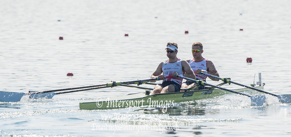 Varese. ITALY.  GBR M2X,  Bow John COLLINS and Jonny WALTON , 2015 FISA World Cup II Venue Lake Varese. Thursday  18/06/2015 [Mandatory Credit: Peter Spurrier/Intersport-images.com] .   Empacher.